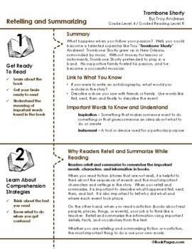 Trombone Shorty Lesson Plans & Activities Package, Fourth Grade (CCSS)