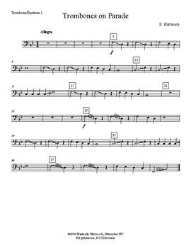 trombones on parade very easy beginning band arrangement very flexible. Black Bedroom Furniture Sets. Home Design Ideas