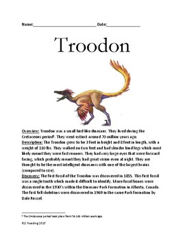 Troodon - dinosaur review article facts information - most intelligent dinosaur
