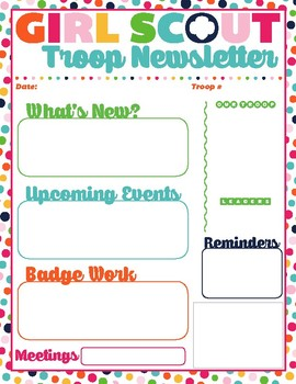 Troop Newsletter Template New Style with Image Girl Scouts Inspired