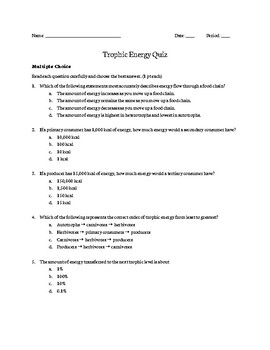 Trophic Energy Quiz