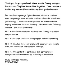 Trophies Book 4 Time Together Fluency Passages