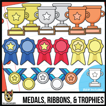 Trophies, Ribbons, & Medals   Awards Clip Art   Add your own text!