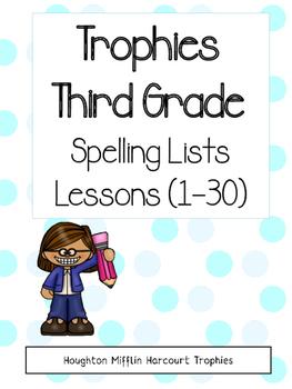 Trophies Spelling Lists Bundle - Cursive and Print