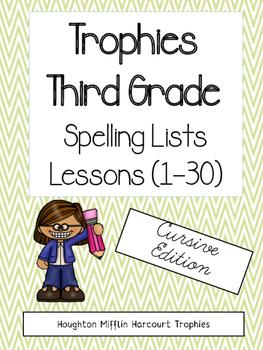 Trophies Spelling Lists Cursive Edition - 3rd grade (Harcourt)