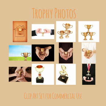 Trophy Photos Clip Art Set of Trophies for Commercial Use