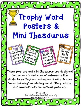 Trophy Word Synonym Posters--Reference for Writers