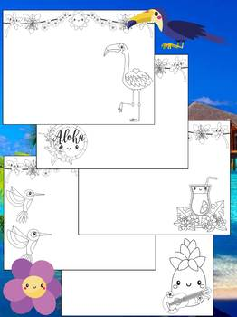 Tropical Aloha - Happy Desk Editable Coloring Pages : Summer, Beach
