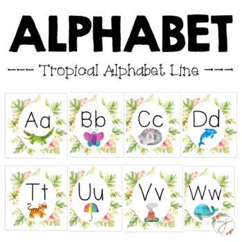 Tropical Alphabet Line Posters