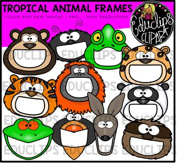 Tropical Animal Frames Clip Art Bundle {Educlips Clipart}