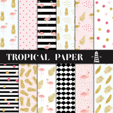 Tropical Backgrounds, Summer Patterns, Flamingo, Pineapple