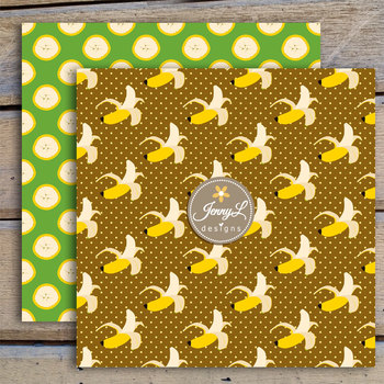 Tropical Banana digital paper and clipart SET