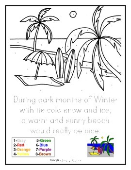 FREE DOWNLOAD Tropical Beach Drawing - Color by Numbers and Writing Activity