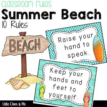 Tropical Beach Classroom Rules Editable