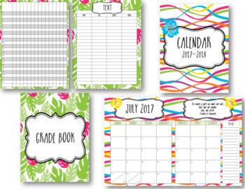 Tropical Beach Editable Teacher Binder / Lesson Planner 2017-18 Free Updates