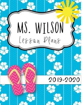 Tropical Beach Editable Teacher Binder / Lesson Planner 2018-19 Free Updates