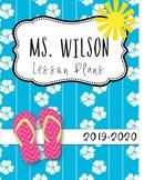 Tropical Beach Editable Teacher Binder / Lesson Planner 2018-19