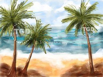 Tropical Beach Scene Printable Tracey Gurley Designs