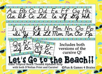 Tropical Beach themed D'Nealian print and cursive Alphabet Strip