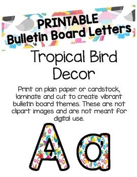 Tropical Bird Bulletin Board Letters (Printable)
