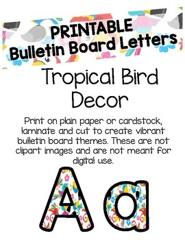 Tropical Bird Bulletin Board Letters Printable By Flynn S Finns