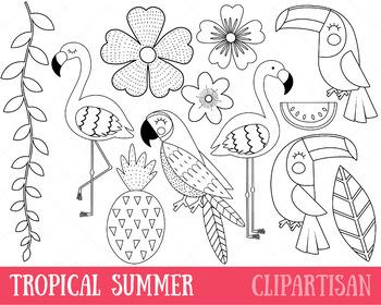 Tropical Birds Clip Art, Toucan, Flamingo, Coloring Activity