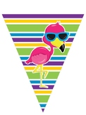 Tropical Birds Pennant Banner Editable