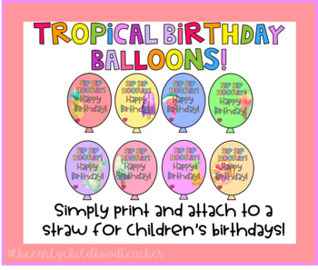Tropical Birthday Balloon Straw Tag