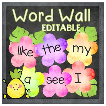DIY Tropical Blossoms Word Wall - EDITABLE - Large & Small Flower Versions