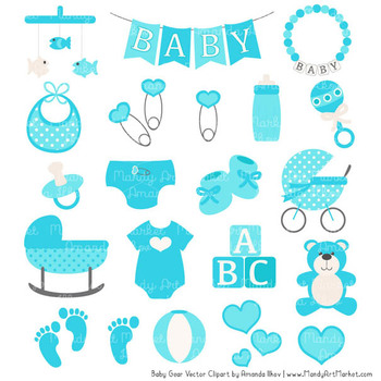 Oh Baby Clipart & Vectors Set in Tropical Blue