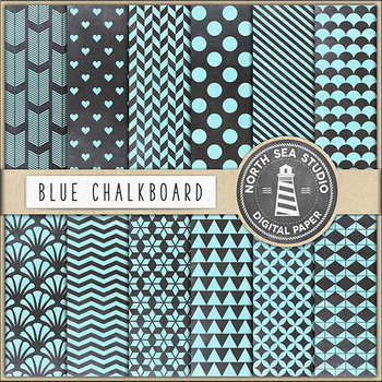 Tropical Blue Chalkboard Papers