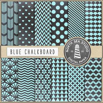 Chalkboard Background, Tropical Blue Chalkboard Papers