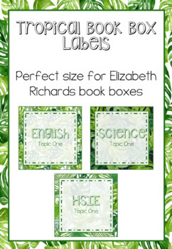 Tropical Book Box Labels EDITABLE