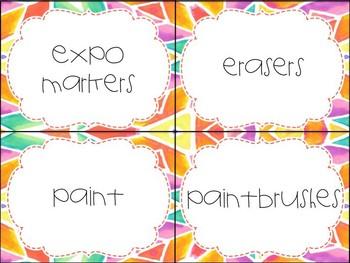Bright Watercolor Editable Supply Labels
