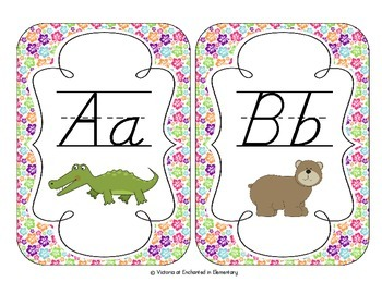 Tropical Brights Floral Alphabet Cards: D'Nealian Version
