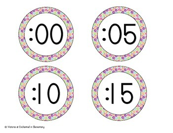 Tropical Brights Floral Clock Numbers