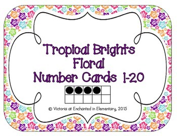 Tropical Brights Floral Number Cards 1-20