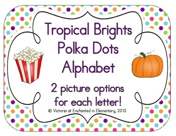 Tropical Brights Polka Dot Alphabet Cards
