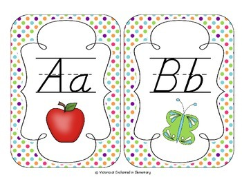 Tropical Brights Polka Dot Alphabet Cards: D'Nealian Version