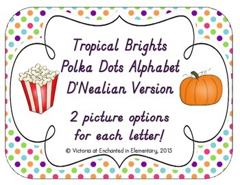 Tropical Brights Polka Dot Alphabet Cards: D'Nealian Version