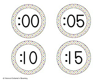 Tropical Brights Polka Dot Clock Numbers