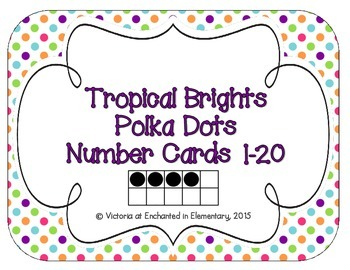 Tropical Brights Polka Dot Number Cards 1-20
