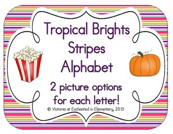 Tropical Brights Stripes Alphabet Cards
