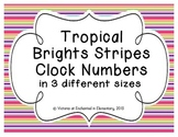 Tropical Brights Stripes Clock Numbers