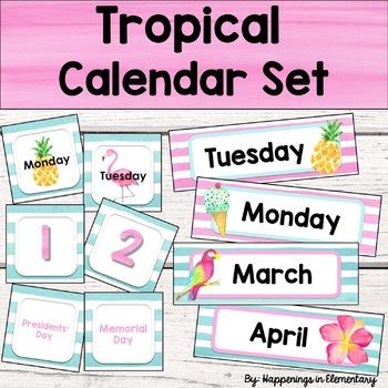 Tropical Calendar Set - Editable