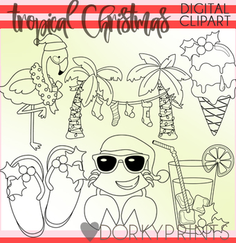 Tropical Christmas Blackline Clipart
