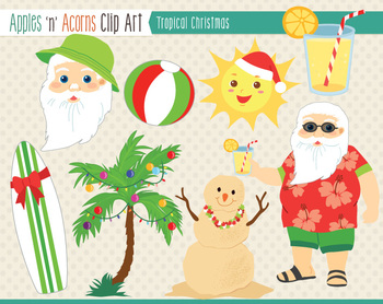 Tropical Christmas Clip Art - color and outlines