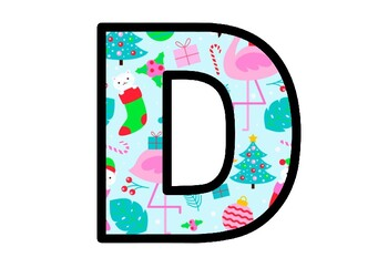 Tropical Christmas, Flamingo, Bulletin Board Letters, Alphabet Posters Decor