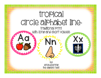 Tropical Circle Alphabet Line--Traditional Handwriting