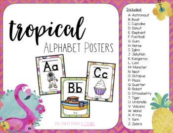 Tropical Class Decor: Alphabet Posters & Word Wall Headers